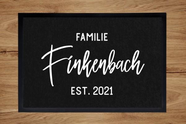 Fußmatte oder Spielmatte mit Familiennamen und Namen personalisiert