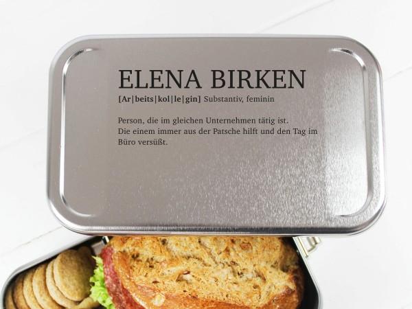Nachhaltige Brotdose mit Definition Name für Arbeitskollegin Freundin