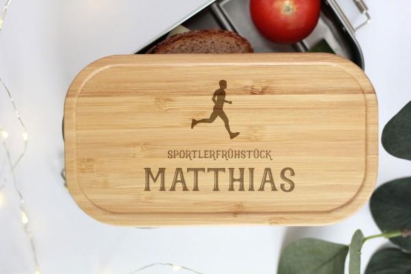 Nachhaltige Brotdose Name und Läufer Sportler Bambusdeckel Holz
