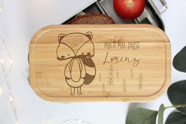 Nachhaltige Brotdose Name auf Lunchbox mit Bambusdeckel Waschbär