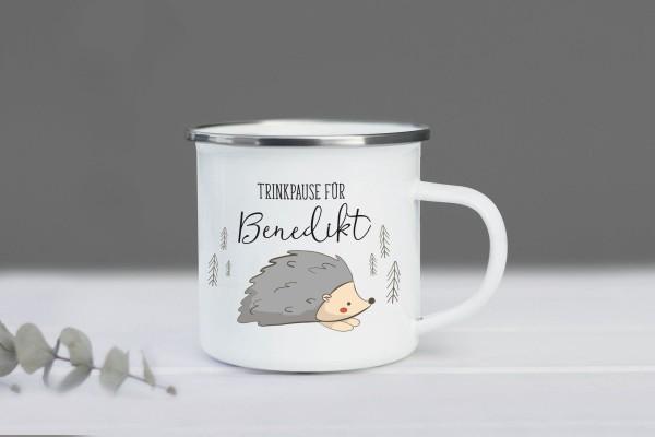Emaille Tasse Igel mit Namen personalisiert