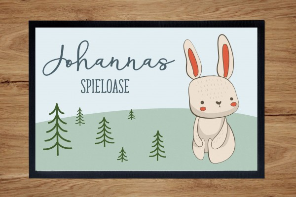 Fußmatte oder Spielmatte mit Motiv Hase und Namen personalisiert